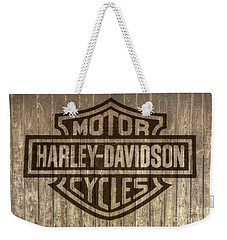 Harley Davidson Logo On Wood Weekender Tote Bag