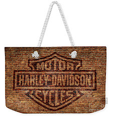 Harley Davidson Logo Red Brick Wall Weekender Tote Bag