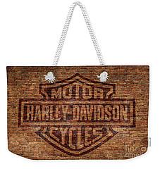 Harley Davidson Logo Red Brick Wall Weekender Tote Bag by Randy Steele