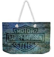 Harley Davidson Logo Weathered Wood Weekender Tote Bag by Randy Steele