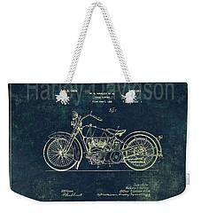 Harley - Davidson Motorcycle Patent Drawing In Blue Weekender Tote Bag