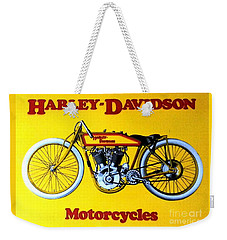 Weekender Tote Bag featuring the painting Harley - Davidson  Poster by Pg Reproductions