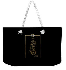 Weekender Tote Bag featuring the digital art Harley-davidson Vintage 1924 Patent In Gold With 3d Badge On Black by Serge Averbukh
