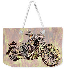 Weekender Tote Bag featuring the mixed media Harley Motorcycle On Flames by Dan Sproul