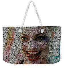 Weekender Tote Bag featuring the painting Harley Quinn Quotes Mosaic by Paul Van Scott