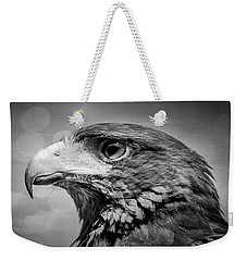 Harris Hawk  Black And White Weekender Tote Bag