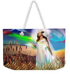 Weekender Tote Bag featuring the digital art Harvest Bride by Dolores Develde