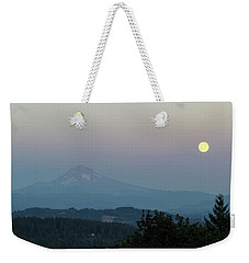 Harvest Moon Full Moonrise Over Mount Hood Oregon Weekender Tote Bag by Jit Lim