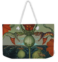 Weekender Tote Bag featuring the painting Harvesters by Andrew Batcheller