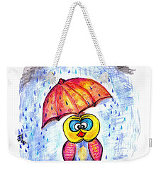 Weekender Tote Bag featuring the drawing Has It Stopped Raining Yet?  by Ramona Matei