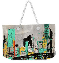 Weekender Tote Bag featuring the painting Hashtag City by Carmen Guedez