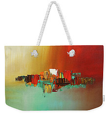 Weekender Tote Bag featuring the painting Hashtag Happy - Abstract Art by Carmen Guedez