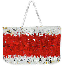 Weekender Tote Bag featuring the painting Hashtag Red - Abstract Art by Carmen Guedez