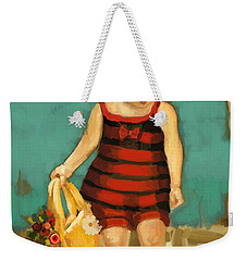 Weekender Tote Bag featuring the painting Hat And Bag by Carrie Joy Byrnes