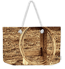 Hat And Lariat On A Post Weekender Tote Bag by American West Legend By Olivier Le Queinec