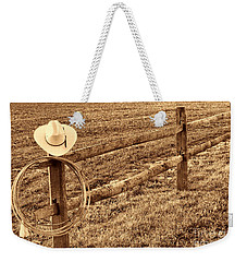 Hat And Lasso On Fence Weekender Tote Bag by American West Legend By Olivier Le Queinec