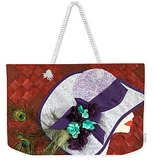 Weekender Tote Bag featuring the tapestry - textile Hat Trick by Jo Baner