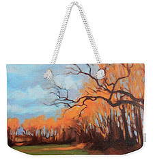 Weekender Tote Bag featuring the painting Haunting Glow by Andrew Danielsen