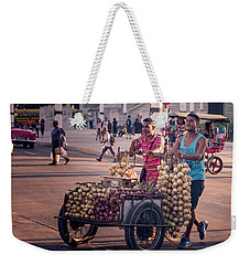 Weekender Tote Bag featuring the photograph Havana Cuba Onion Cart by Joan Carroll