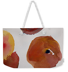 Weekender Tote Bag featuring the painting Have A Peach by Nancy Kane Chapman