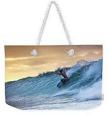 Hawaii Bodysurfing Sunset Polihali Beach Kauai  Weekender Tote Bag