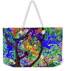 Weekender Tote Bag featuring the photograph Hawaii Shower Tree Flowers In Abstract by D Davila