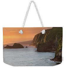 Hawaii Sunrise At The Pololu Valley Lookout 2 Weekender Tote Bag by Larry Marshall