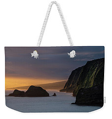 Hawaii Sunrise At The Pololu Valley Lookout Weekender Tote Bag by Larry Marshall