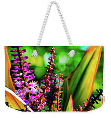 Weekender Tote Bag featuring the photograph Hawaii Ti Leaf Plant And Flowers by D Davila