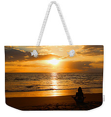 Weekender Tote Bag featuring the photograph Hawaiian Beach Yoga by Michael Rucker