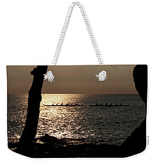 Hawaiian Dugout Canoe Race At Sunset Weekender Tote Bag by Michael Bessler
