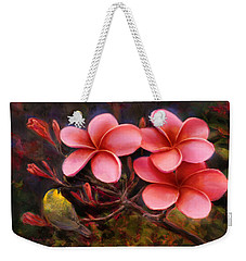 Weekender Tote Bag featuring the painting Hawaiian Pink Plumeria And Amakihi Bird by Karen Whitworth