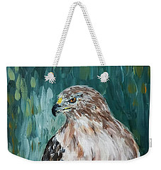 Weekender Tote Bag featuring the painting Hawk by Maria Langgle