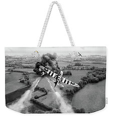 Weekender Tote Bag featuring the photograph Hawker Typhoon Rocket Attack Bw Version by Gary Eason