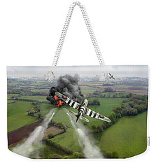 Weekender Tote Bag featuring the photograph Hawker Typhoon Rocket Attack by Gary Eason