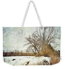 Hay Bales In Snow Weekender Tote Bag