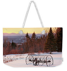 Hay Rake At Winter Sunset Weekender Tote Bag