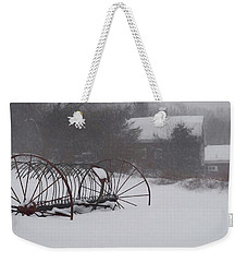 Hay Rake In The Snow Weekender Tote Bag