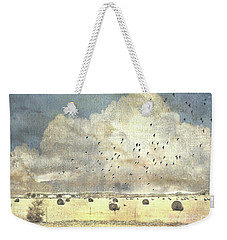 Weekender Tote Bag featuring the photograph Hay Rolls Near Broken Arrow Oklahoma by Janette Boyd