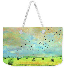 Weekender Tote Bag featuring the photograph Hay Rolls Near Broken Arrow Oklahoma Two by Janette Boyd
