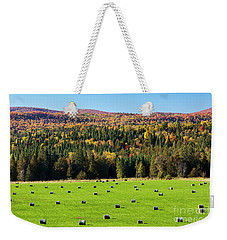 Weekender Tote Bag featuring the photograph Hayfield Landscape by Alan L Graham