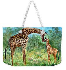 Weekender Tote Bag featuring the painting Haylee's Giraffes by LaVonne Hand