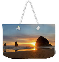 Haystack Rock At Cannon Beach During Sunset Weekender Tote Bag