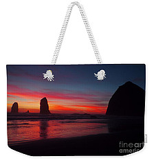 Haystack Rock At Sunset Weekender Tote Bag