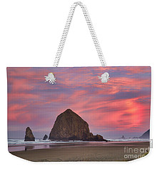 Haystack Rock- First Light Weekender Tote Bag