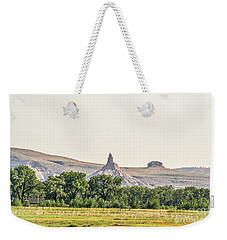 Weekender Tote Bag featuring the photograph Hazy Chimney Rock by Sue Smith