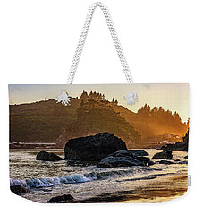 Weekender Tote Bag featuring the photograph Hazy Golden Hour At Trinidad Harbor by John Hight