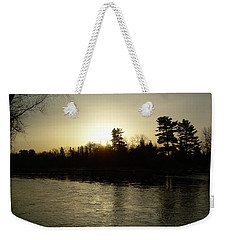 Weekender Tote Bag featuring the photograph Hazy Mississippi River Sunrise by Kent Lorentzen