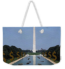 Weekender Tote Bag featuring the digital art He Is Adding Alligators From Wall Street by Edwin Alverio