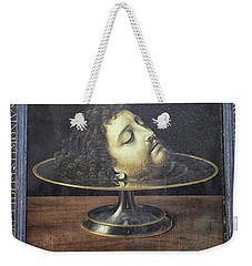 Weekender Tote Bag featuring the photograph Head Of John The Baptist, 1507, With Frame And Inscription -- By by Patricia Hofmeester